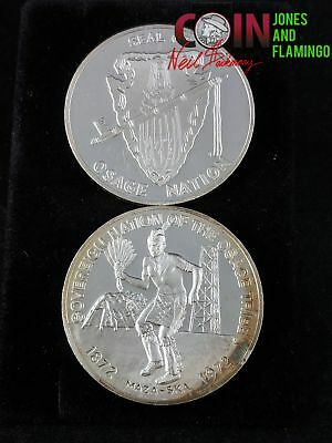 Lot Of 2 - 1972 Osage Nation Coins, 51.5 Grams Total .999 Silver, Toned #11991