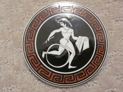 Vintage Greek Ceramic Pottery Disk Coaster Hand Made in Greece Kerameikos Athens