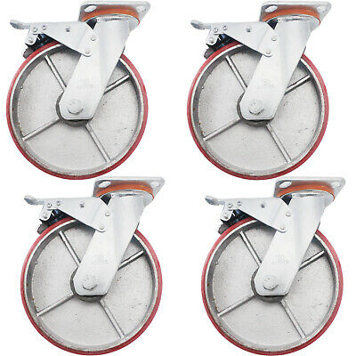 "4x 8""/20cm 600KG Heavy Duty Swivel Caster Wheels Castor Wheel Metal With Brake"