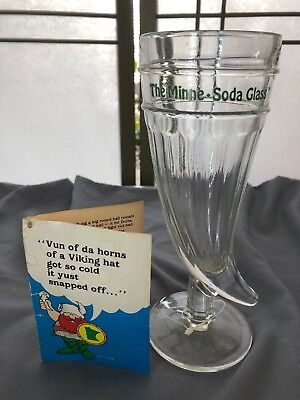 "MINNE-SODA Viking Horn Clear Glass 12 OZ Minnisota SODA 8"" Tall Mug Beer Mug"