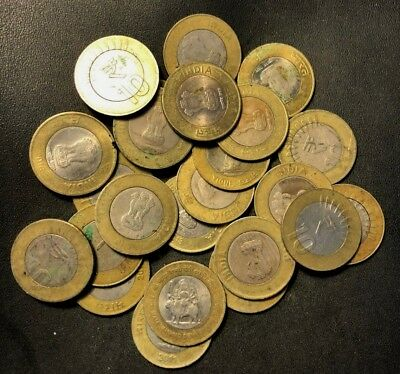 OLD India Coin Lot - 25 COINS - 10 RUPEES - Overstock - Lot #N15