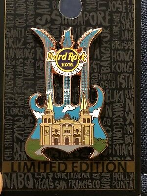New 2018 Hard Rock Hotel Guadalajara Triple Neck Guitar Pin With Cathedral