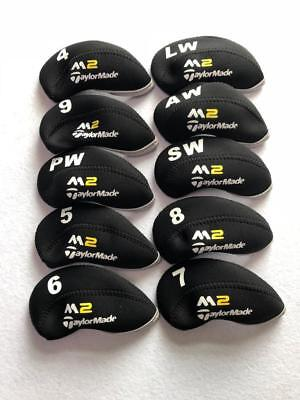 10PCS Golf Iron Headcovers for Taylormade M2 Club Covers 4-LW Black&Black Bundle