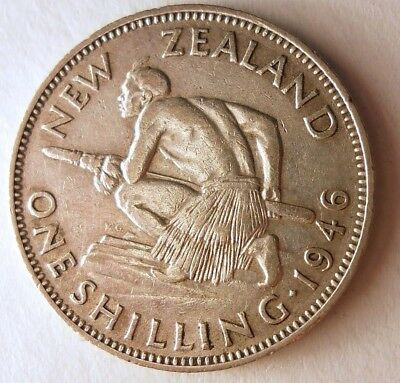 1946 NEW ZEALAND SHILLING - AU - KEY DATE - Big Value Silver Coin - Lot #N15