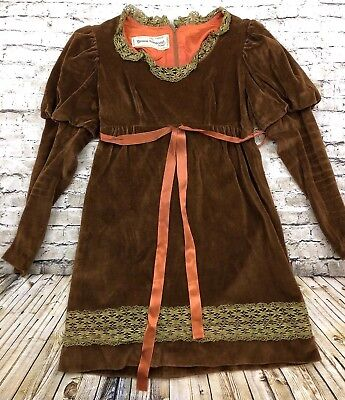 Vtg 70's Victorian Brown Velour Dress Young Innocent Arpeja Boho Peasant 9 Small
