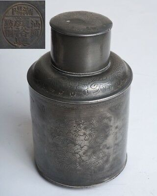 Antique Chinese Pewter Tea Caddy with Prunus Blossom Decoration & Mark to Base