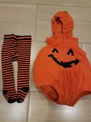 Carter's pumpkin costume with striped leggings, size 6-9 months