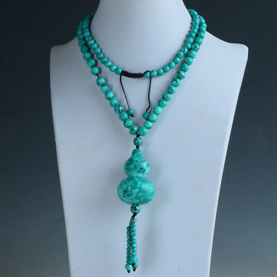 Natural Turquoise Handwork Beads Necklaces & Gourd Shape Pendant RX057`a