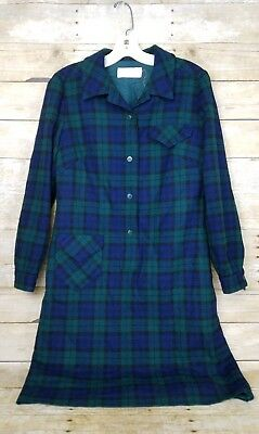 Vtg Pendleton Wool Plaid Dress Womens Sz 14 Blue Green Lined Long Sleeve Buttons