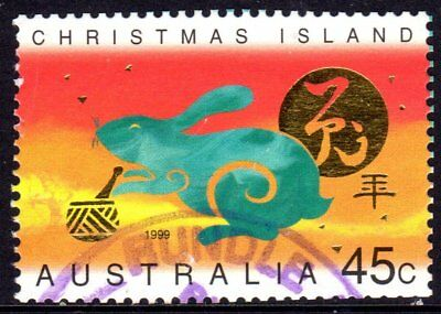 Christmas Island 1999 Year Of The Rabbit Used Sheet Format