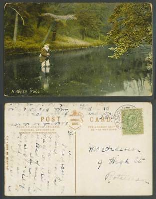 Angler Angling with Fishing Rod in A Quiet Pool 1906 Old Colour Postcard Fishery