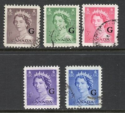 """Canada #O33-O37 VF used Official Stamps overprinted """"G"""""""