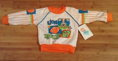 NWT Vtg 80s Neon Lionbacker Sweatshirt Boys Sz 24M Kids & More Taiwan FLAWS Z5
