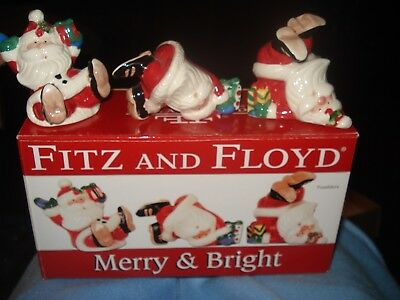 3 Fitz And Floyd Merry And Bright Whimsical Snowmen Christmas BOX