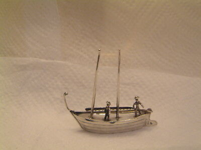 "Vintage Miniature Dutch Silver Boat By Jan Van Dijk- 2 1/2"" High Weighs 23 Grams"