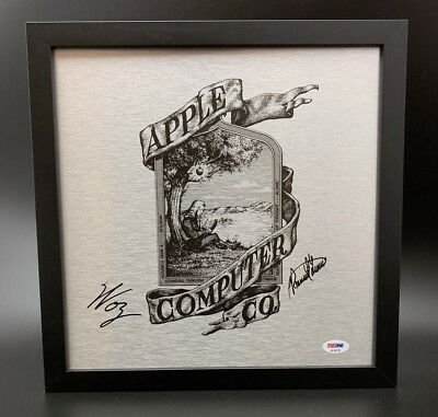 Steve Wozniak Ron Wayne SIGNED Framed Apple I Computer Logo PSA/DNA AUTOGRAPHED