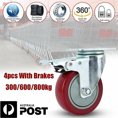 "3"" 4"" 5"" Heavy Duty Swivel Castors with Brakes 300-800KG Load PVC Trolley Caster"