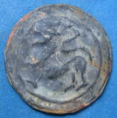 18th circa.--SOUTHEAST ASIA-ANCIENT COIN---LONG TAIL SINGH(LION)---22 mm.