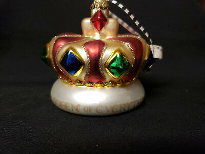 """Mary Engelbreit Christmas Glass Ornament QUEEN OF EVERYTHING ~ Large 4"""" Crown"""