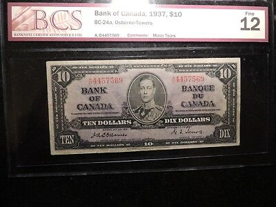 1937 BANK OF CANADA $10 TEN DOLLARS OSBORNE TOWERS BC-24a CERTIFIED F-12 BCS