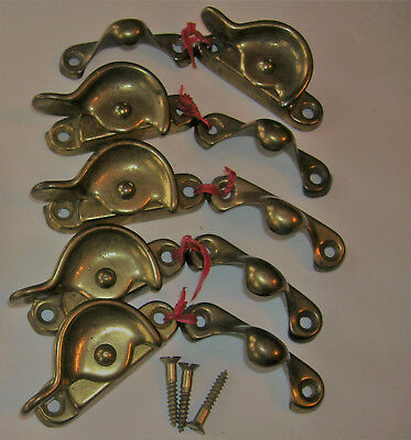 Vintage Cresent Locks for Wood Window Sashes  Lot of  5 Brass Plated