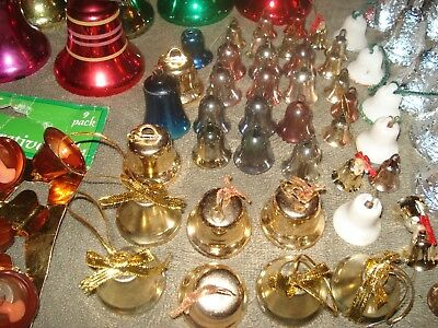 HUGH LOT OF 100+ VINTAGE  BELL ORNAMENTS Various Color Sizes