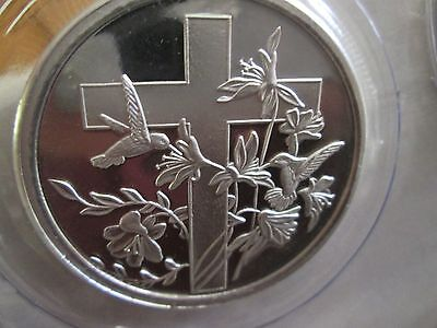 1 oz .999 fine silver Easter Cross of Christ bullion round Oz