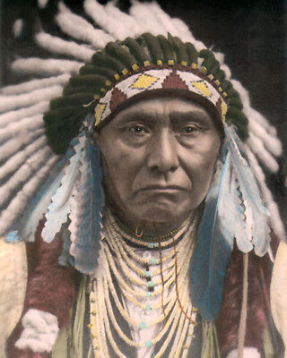 "CHIEF JOSEPH NEZ PERCE NATIVE AMERICAN INDIAN 8x10"" HAND COLOR TINTED PHOTOGRAPH"