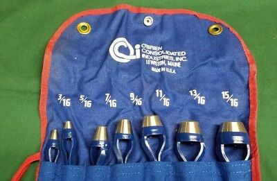 """O'Brien Consolidated Industries 7 Pc. Arch Punch Set 3/16"""" - 15/16"""" Leather ect!"""