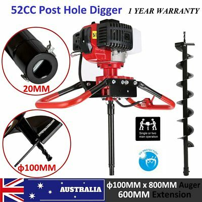 52cc Post Hole Digger 2.3HP Earth Auger 600mm Fence Borer Petrol 100mm Drill Bit