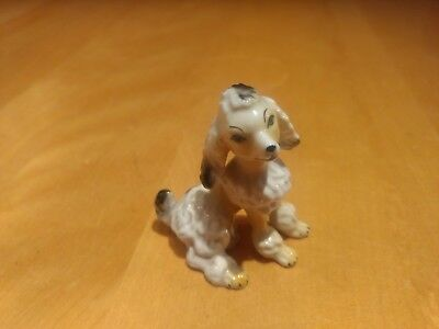 Vintage Small White Poodle Porcelain Hand Painted Figurine