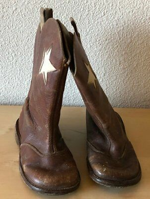 Antique Pair 1930s Brown Leather Baby Toddler Cowboy Western Boots Shoes