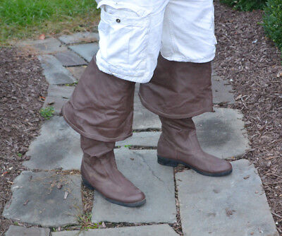 Brown Mens Over the Knee Boots Ren Faire Pirate Cosplay Costume size XL 12-13