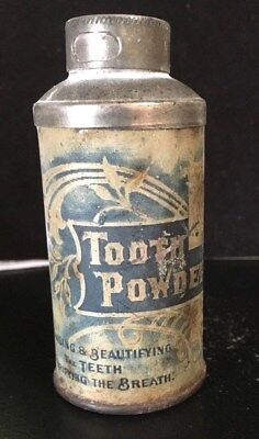 Antique Dental Tooth Powder Tin: Victorian Ornate Litho W/contents Beauty Teeth
