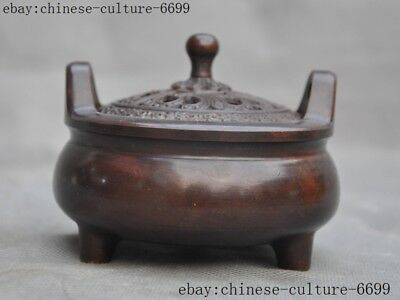 Marked old Chinese pure purple copper Incense burner Censer
