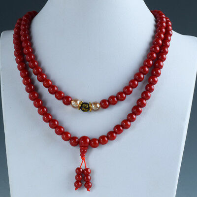 100% Natural Red Coral Handwork Decoration Necklace RX037`a