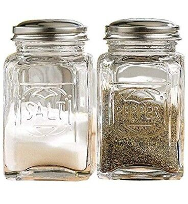 Glass Salt and Pepper Shakers With Stainless Tops