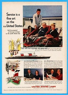 1959 SS United States Lines Cruise ship Verne Drew James Knott Raymond Ball Ad