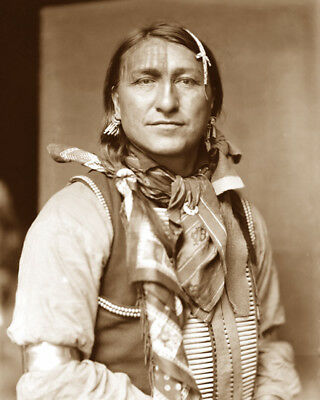 Joe Black Fox 1898 Sioux Native American Sepia Photo
