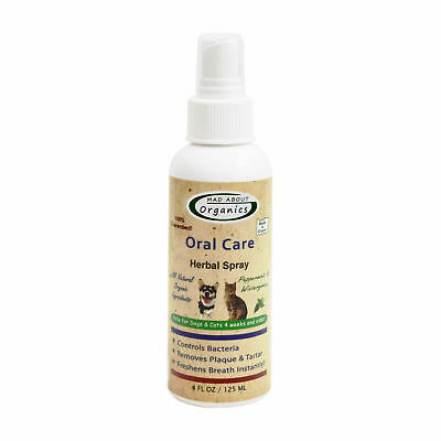 Mad About Organics All Natural Dog Cat Plaque Remover Oral Care Herbal Spray 4oz