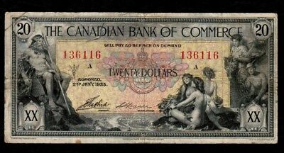 1935 $20 Canadian Bank Of Commerce Chartered Banknote F-15! A Beautiful Note!