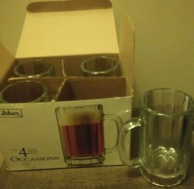 4 Piece Heavy Glass Libbey Occasions Beer / Ale Mugs 16 Ounce New In Box
