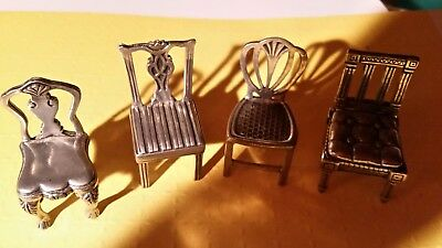 4 Williamsburg Pewter Place Card Holders  Miniature Doll Furniture Chairs
