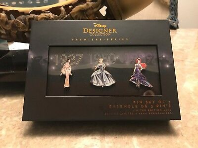 Disney Designer Collection Premiere Series Pin Set Of 3 Limited Edition