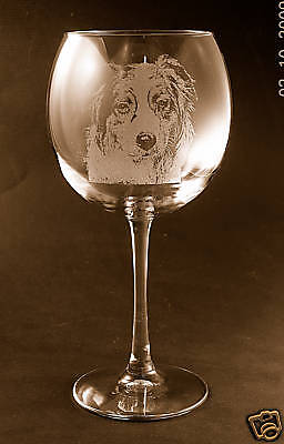 New! Etched Australian Shepherd on Elegant Wine Glasses - Set of 2