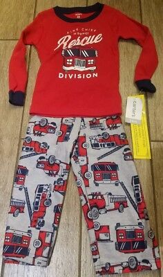 Toddler Boy 24 month Red Fire Truck Pajamas Pjs CARTER'S Fall Winter Christmas