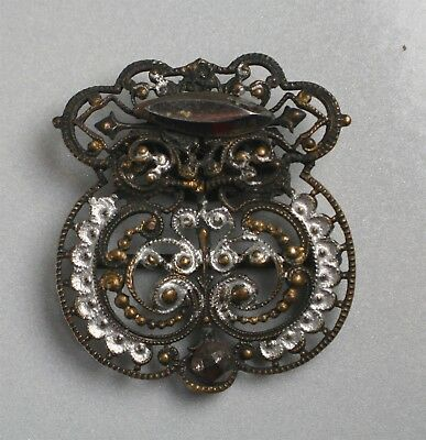 Small Antique Womens Filagree Belt Buckle Steel Cut Paint Highlights