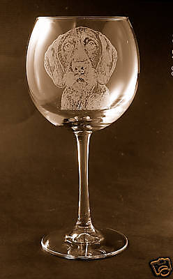German Wirehaired Pointer on Elegant Wine Glasses - Set of 2