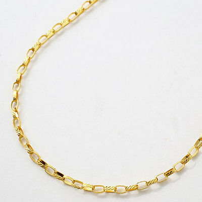 """24K Solid Yellow Gold 3.9g Patterned Rolo Link Necklace 16.5"""" Japan Mint Stamp"""