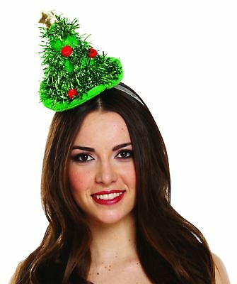 754f1561750d5 Womens Mini Tinsel Christmas Tree Headband Hat Ladies Bauble Green Xmas Hat